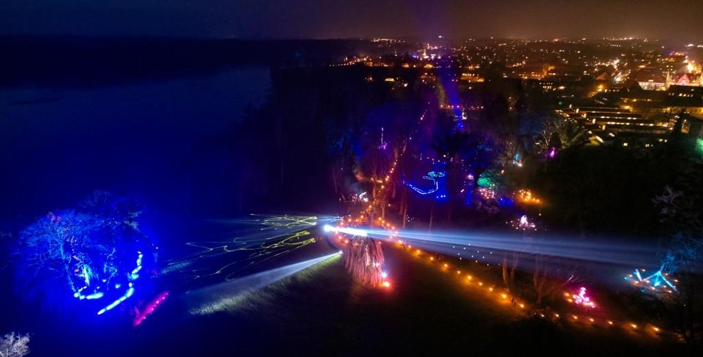 dronographica aerial imaging kyndelmisse sorø sø akademihaven lysshow laserlys drone droner dronebilleder droneoptagelse natur