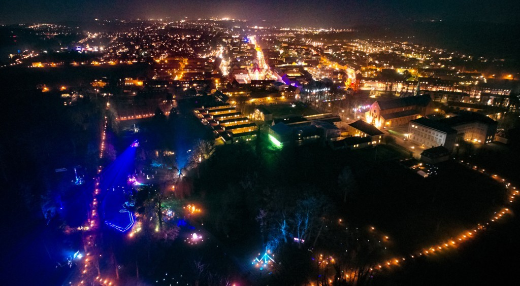 dronographica aerial imaging night sorø kyndelmisse 2017 luftbillede droner drone natbillede